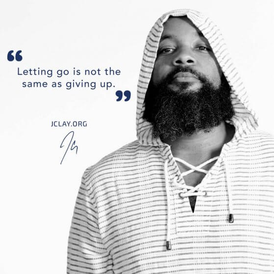 inspirational quote of jclay over an image of bearded JClay in a hoodie