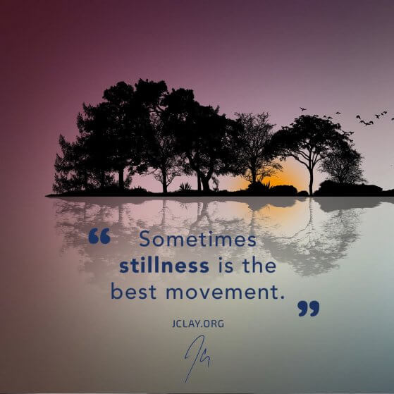 inspirational quote by JClay of a beautiful sunset on water with trees