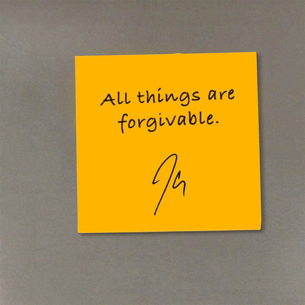 inspirational quote by jclay on a yellow sticky post-it note