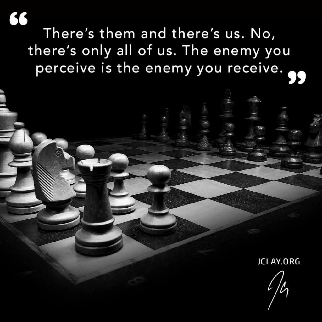 inspirational quote by jclay over a chess game