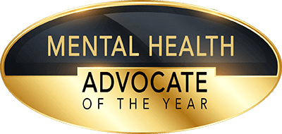 gold and black mental health advocate of the year award
