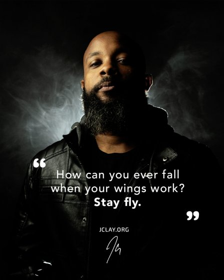 inspirational rap quote by jclay with smoke wings in black