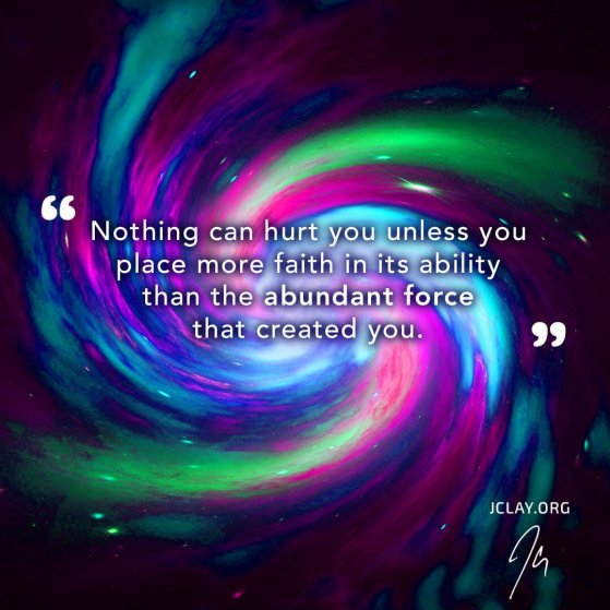 thought-provoking quote by jclay over a colorful spiral background