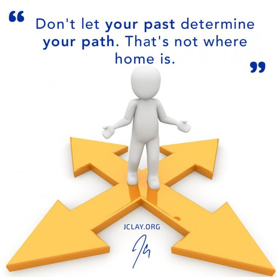 man with multiple paths and routes with inspirational quote by jclay